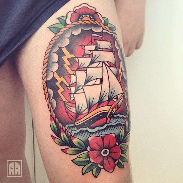 Traditional Nautical Ship At Sea Tattoo Scenery With Flowers & Rope Border