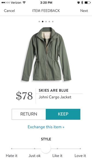 Skies Are Blue Johni Cargo Jacket. I love Stitch Fix! A personalized styling service and it's amazing!! Simply fill out a style profile with sizing and preferences. Then your very own stylist selects 5 pieces to send to you to try out at home. Keep what you love and return what you don't. Only a $20 fee which is also applied to anything you keep. Plus, if you keep all 5 pieces you get 25% off! Free shipping both ways. Schedule your first fix using the link below! #stitchfix @stitchfix…