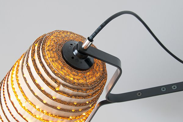 Lamps made from upcycled cardboard.          Gloucestershire Resource Centre http://www.grcltd.org/scrapstore/