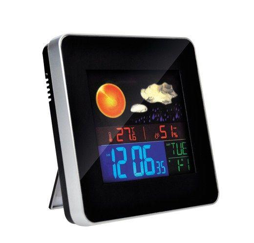 meteostanice, teplota, vlhkost, budík, LCD displej, stříbrný rámeček -
