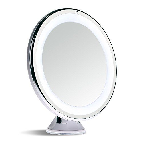 Best Travel LED Lighted Makeup Mirror Ever Made ,Comes in 5X and 7X Magnification! It's Light Weight, Collapsible. Warm and Bright Light to See Every Detail.  With Our Innovative Power Suction Mount, You Can Attach it to Any Mirror or Many Material. It's Large Enough (6 inch) to Your Entire Face and it's Small Enough to Pack into Backpack or Suitcase. Plus It's Touch Activated and Dimmable.