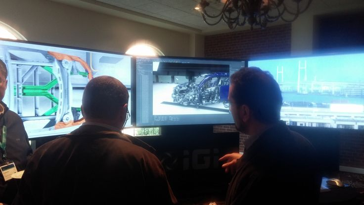 """IGI supported partner Simulia (part of Dassault Systems) with the large scale advanced visualization system IGI WalkThru, which demonstrated rendered crash testing on 84"""" 4K stereo panels via 3DXCITE DeltaGen Real Impact software, powered by a server with NVIDIA K6000 Quadro graphics cards."""