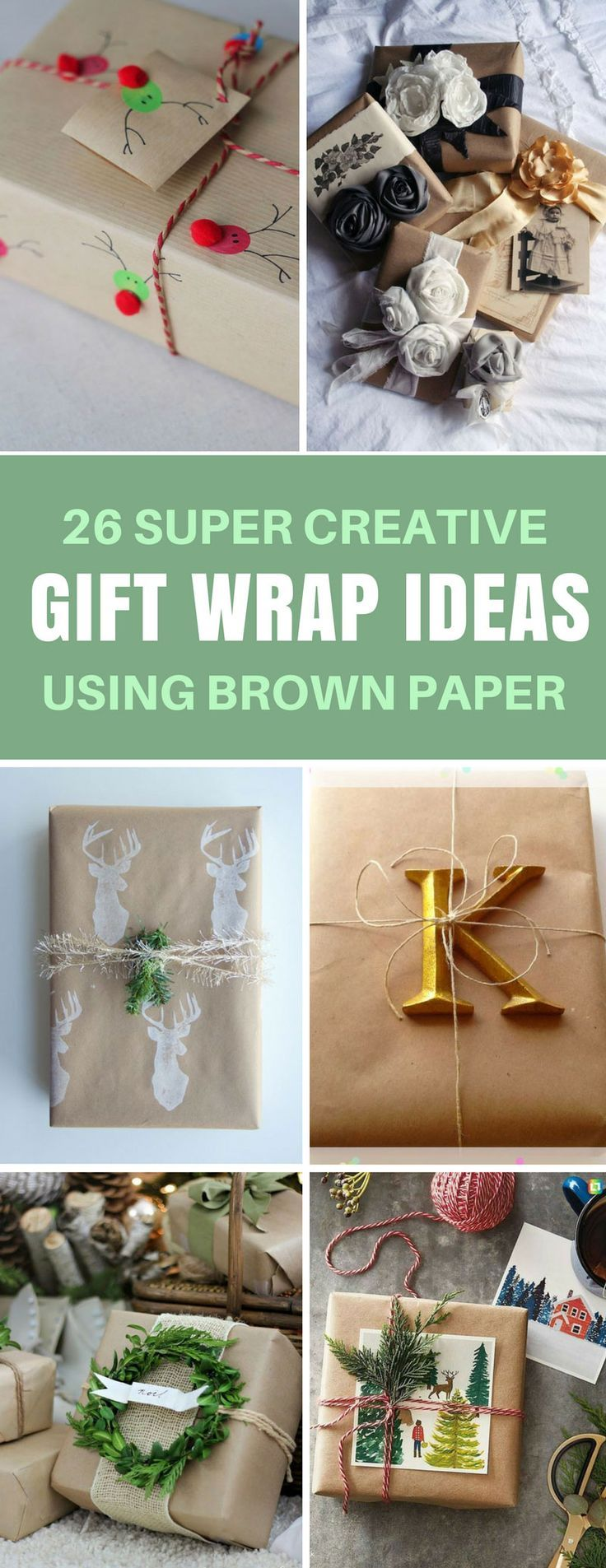 bridal shower poem for not wrapping gifts%0A Gift Wrap Ideas Using Brown Paper  Seriously these ideas look so good your  friends will