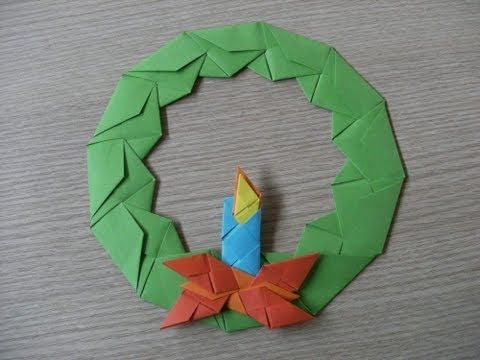 ▶ origami - advent wreath with candle - wieniec adwentowy ze świecą - how to make - YouTube