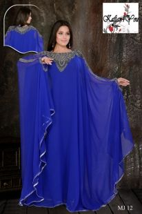 Beautiful Bluen Kaftan, with heavy hand beading around the neck