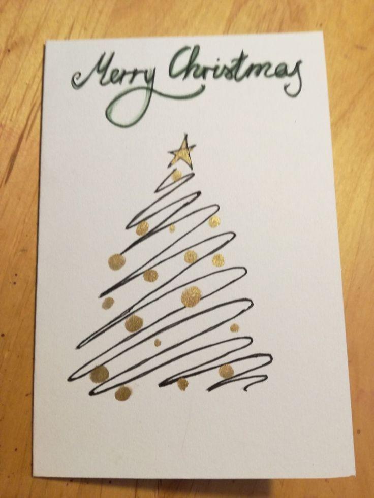 Weihnachtsgrüße Als Tannenbaum.Weihnachtskarte Tannenbaum Aquarell Weihnachtsgrüße Mit Lettering