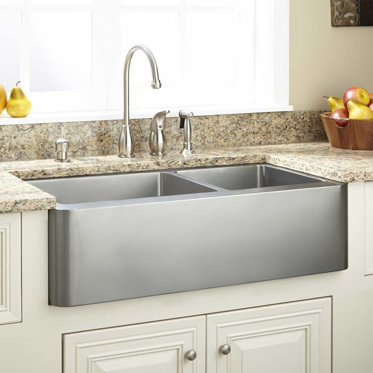 "Kitchen Find Your Perfect Kitchen Farm Sinks For Kitchen: 33"" Ackerman 70/30 Offset Double-Bowl Stainless Steel"