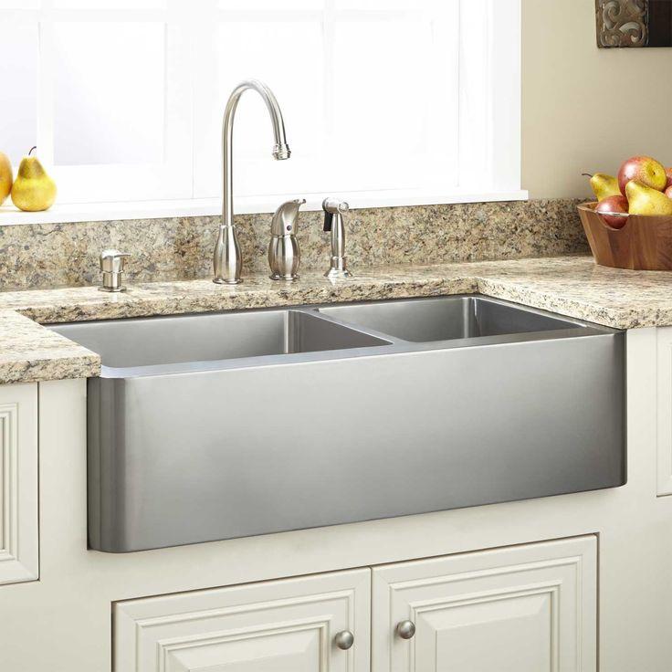 33 ackerman 70 30 offset double bowl stainless steel farmhouse sink wave apron kitchen on kitchen sink id=52565