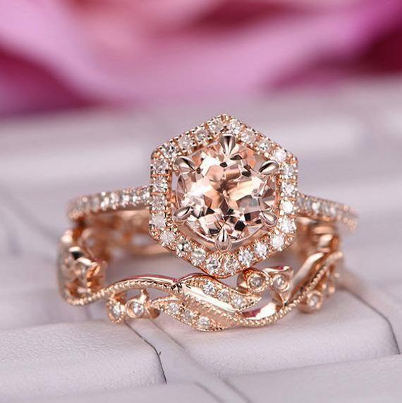 Matching Ring Set 2pcs Ring Simulated Diamond 14k Rose Gold Ring Morganite Ring Stacking Curved Custom Wedding Band Ring, Wedding Ring
