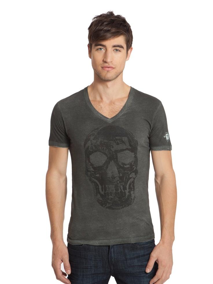 GUESS Skull-Print V-Neck, JET BLACK (XS)