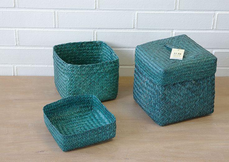 košík s víkem - mořská tráva - 1 ks
