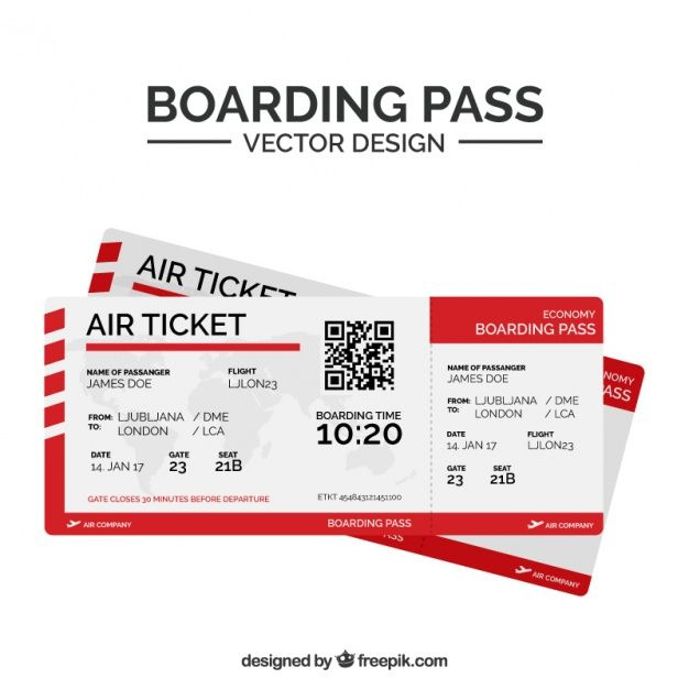 Download Flat Boarding Pass With Qr Code And Red Shapes For Free Receipt Template Ticket Design Boarding Pass