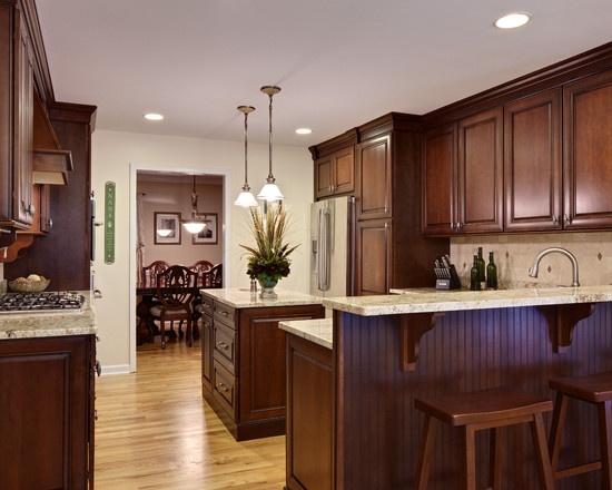 Kitchen Dark Wood Floor Wood Cabinets Design, Pictures, Remodel, Decor And  Ideas