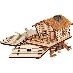 Handicraft set smoker house cabin (9cm/3.5in)ch by Seiffener Volkskunst