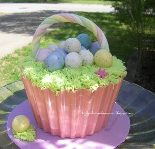 I get to use my giant cupcake pan again!  BabyCakes: Giant Easter Basket