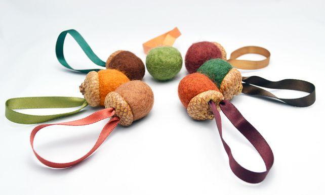 NEW Autumn felt acorns - waldolf 7 hanging decorations, wedding £11.00