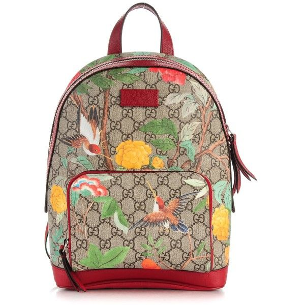 GUCCI GG Supreme Monogram Small Tian Print Backpack Red ❤ liked on Polyvore featuring bags, backpacks, brown backpack, gucci backpack, zip backpack, backpack travel bag and brown bag