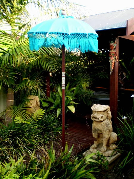 Bali Umbrella's Traditional ceremonial-decorative  beautiful in a tropical Garden