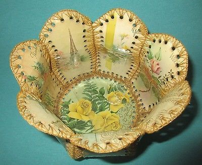 Beautiful-Handmade-Vintage-Greeting-Card-Basket-Crochet-Scalloped-Craft-Bowl