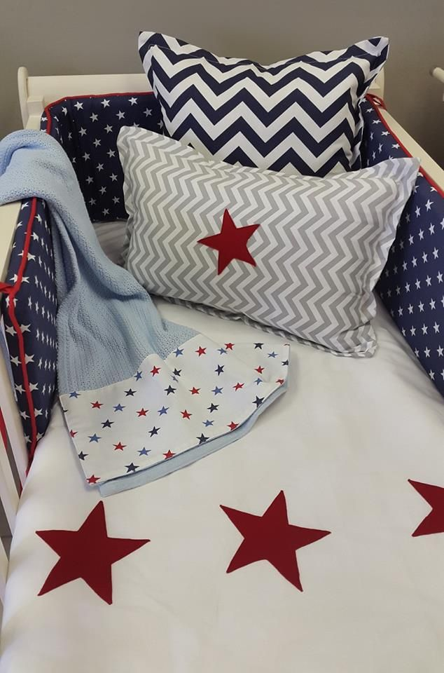 For a #simple nursery, our #navy and #red combination is perfect for any #BabyBoy's #StarTheme nursery!  #BabyBedding #BabyLinen