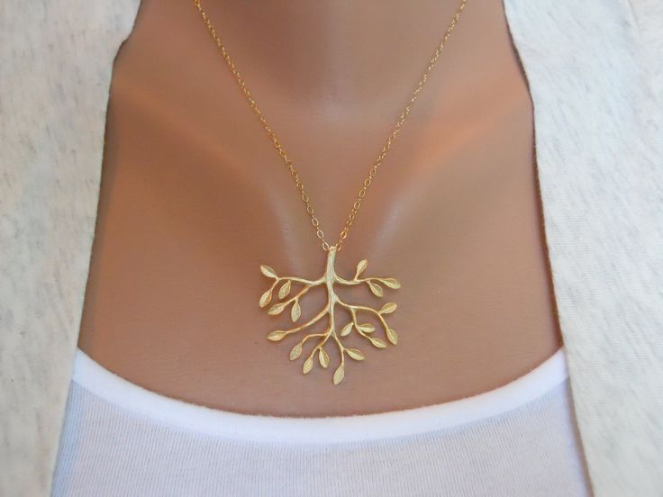 Tree Necklace in Gold - gold tree delicate pendant - gold filled fine chain - morganprather. $27.00, via Etsy.