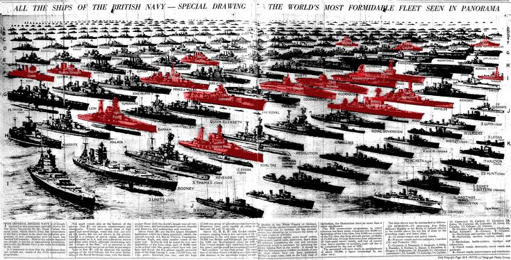 This diagram of the British Royal Navy battle fleet was produced in the Daily Telegraph in 1939. A modern-day blogger has shaded in red those ships lost during World War Two.