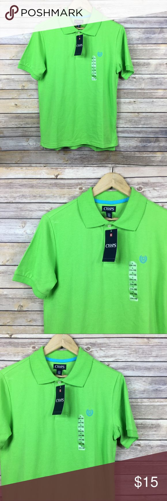 Chaps Boys Embroidered Polo Shirt Size L NWT Chaps Boys Green Embroidered Logo  Polo Shirt Size L (14-16)  New with Tags 100% Cotton  Armpit to armpit 19 in Armpit to end of sleeve 4 in Shoulder to hem 27 in Thanks for visiting! Chaps Shirts & Tops Polos