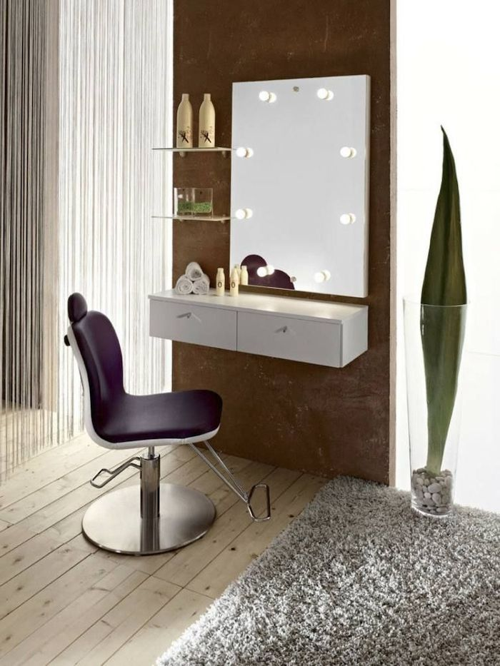 Mirror With Lights Purple Leather Chair Wooden Floor Grey Carpet Small Makeup Vanit Dressing Table Design Modern Dressing Table Designs Glass Shelves Decor