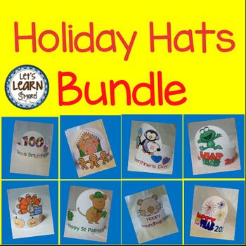 Save 28% Nov 28-29 2016Holidays Hats Bundle, Groundhogs Day, Gingerbread Man, New