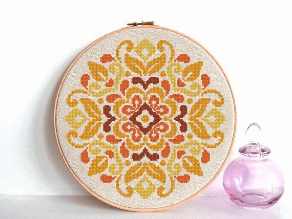 modern cross stitch pattern, flowers ornament, traditional flower ornament, geometric pattern, folk art, instant download, PDF