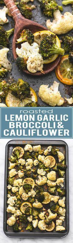 Easy and healthy One Pan Roasted Lemon Garlic Broccoli & Cauliflower | http://lecremedelacrumb.com