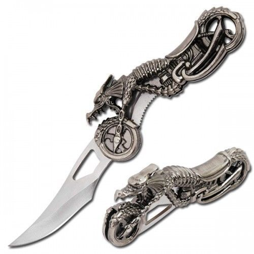 Liner Lock Knife Motorcycle W/ Dragon