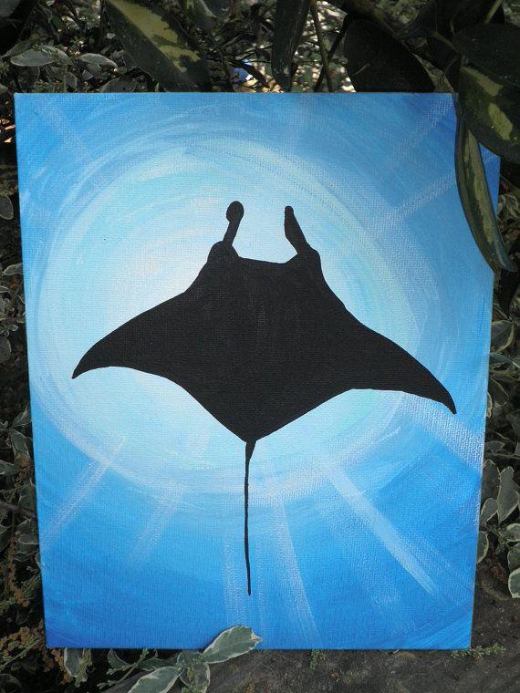 Original Stingray Silhouette underwater Acrylic | I Love ... Easy Acrylic Flower Paintings On Canvas