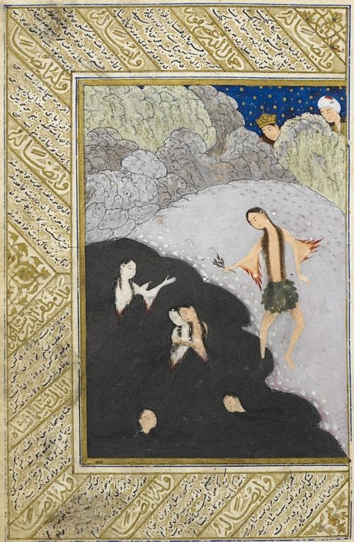 In this miniature, an illustration to Niẓāmī's Iskandar-nāmah ('Epic of Alexander the Great'), Alexander and his servant witness the enchanting and innocent spectacle of young girls bathing together at night in a pool out in the wilds.