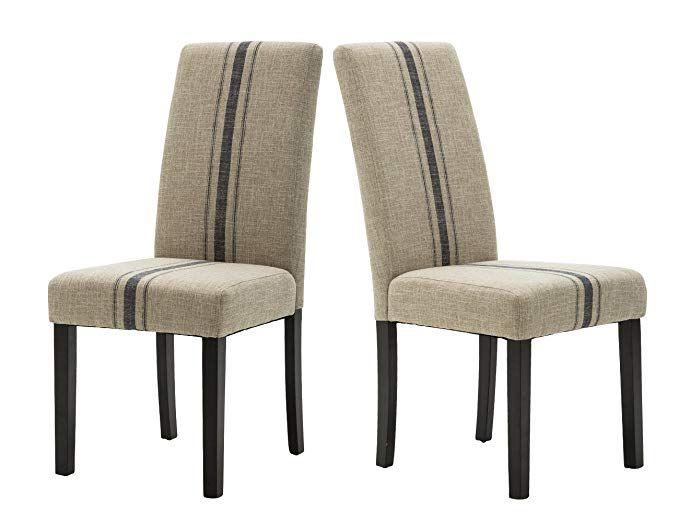 Modern Upholstered Stripe Dining Chair Retro Formal Elegant