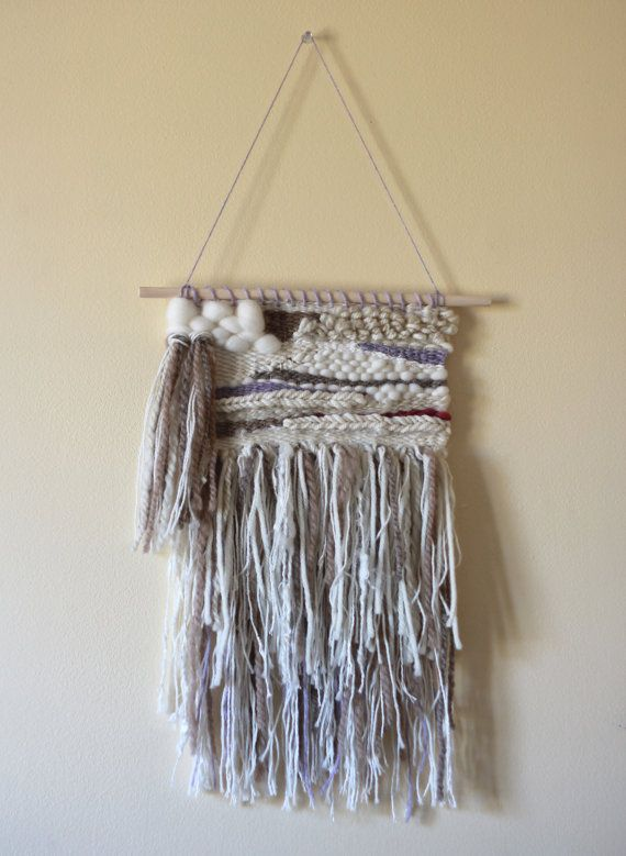 Purple and Neutrals - Handwoven Wall Art by Amanda J. French, weaving wall hanging hand-dyed handspun yarn