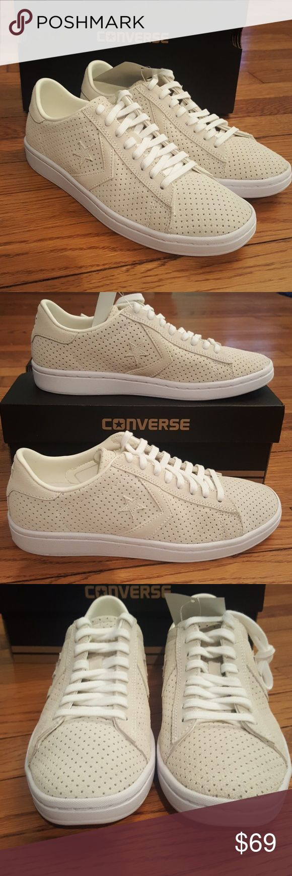 New Converse Pro Leather/Suede Sneakers Egret/White, perforated suede, lace up sneaker Converse Shoes Sneakers