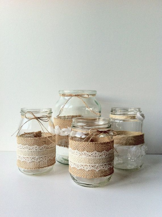 Variety Rustic Glass Jar Collection - Set of Four (4) - Vintage Hessian / Burlap and Lace - Wedding Decoration