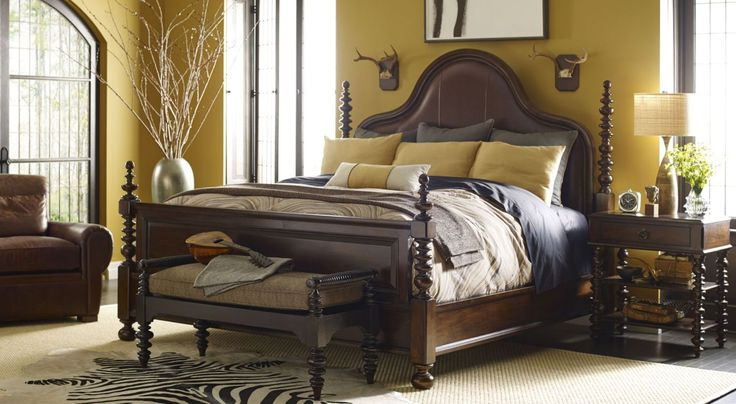 yellow painted bedroom wall thomasville bedroom furniture with leather furniture chair lampshade on nightstand