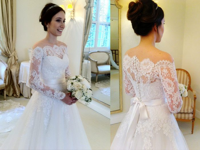 2014 New Vestido De Noiva White Off The Shoulder Tulle Empire Wedding Dresses With Long Sleeves and Lace Cathedral Veil-in Wedding Dresses f...