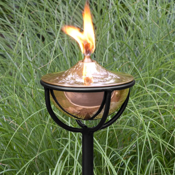 Artisan Polished Copper Garden Torch with Chalice Floor Stand