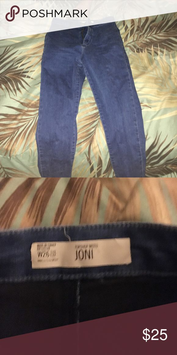Topshop high waisted jeans High waisted jeans if you want more pics let me know. I know these are shitty I was just lazy when it came to taking them. They are in perfect condition worn like 6 times but they are too small on me now. Topshop Jeans Skinny
