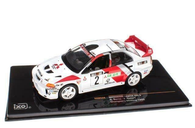 1:43 IXO Voiture RAM524 Mitsubishi Lancer Evo V Rallye Ralliart 1998 Burns