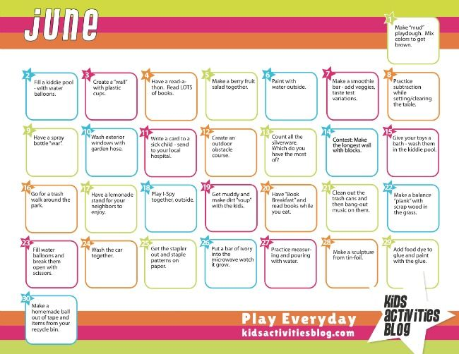 June Calendar Picture Ideas : Calendar activities plays and summer fun
