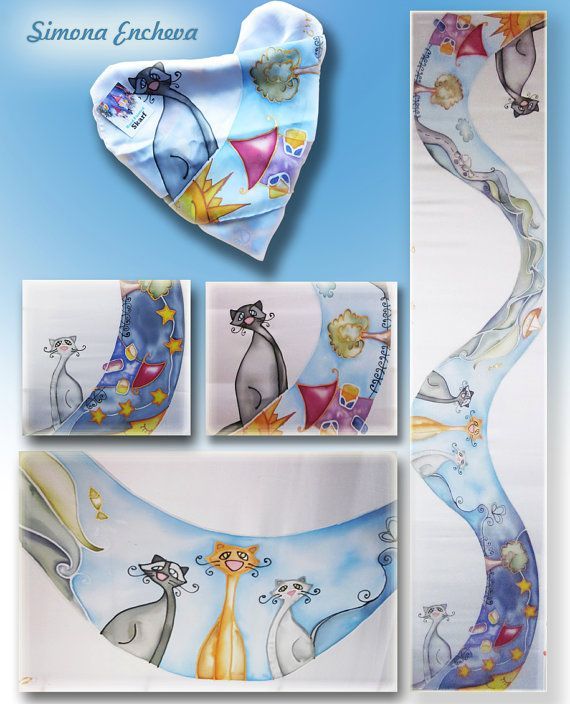 Hand painted silk scarf.Satin silk scarf.What do cats dream about by SE scarves