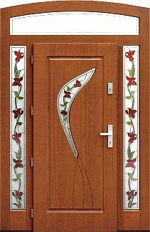 Drzwi zewnętrzne z dostawką boczną i naświetlem górnym wzór 458,1+ds52 w kolorze złoty dąb