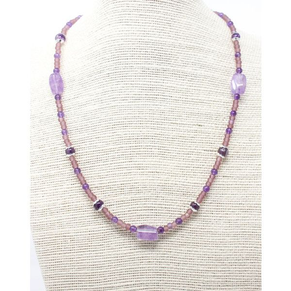 Amethyst and Seed Bead Necklace, Purple Layering Necklace, Delicate Beaded Necklace with Lavender Amethyst, Healing Gemstone ($22) found on Polyvore featuring women's fashion, jewelry, necklaces, purple chunky necklace, layered beaded necklace, purple bead necklace, lavender necklace and beading necklaces