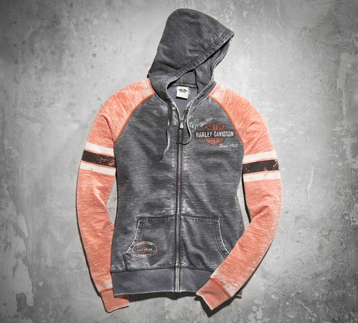 An allover burnout pattern, vintage-inspired graphics and contrasting stripes on the sleeves make this zip-front hoodie your new hands-down favorite.   Harley-Davidson Women's Oil Can Burnout Hoodie