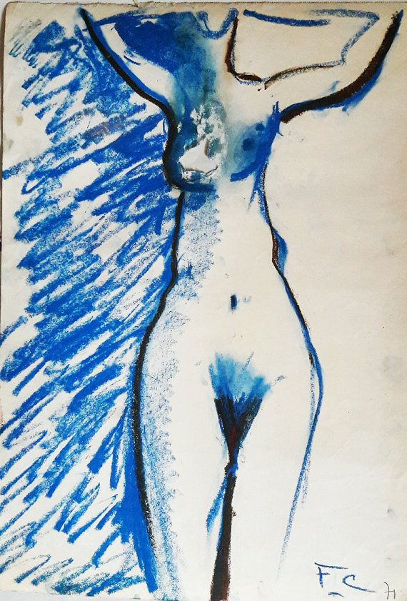 Francois Chapuis  Blue Nude 1971  Oil Pastel on Paper by RAVERETRO
