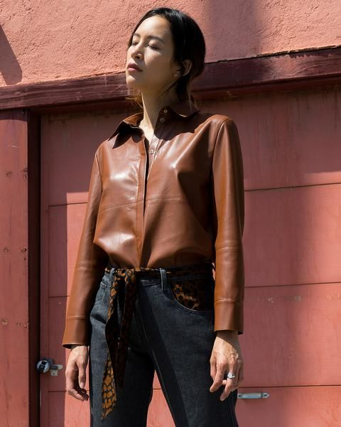 c0606e90593a9e Nanushka NAUM - rust vegan leather shirt – Nanushka Online | A\W 19 ...